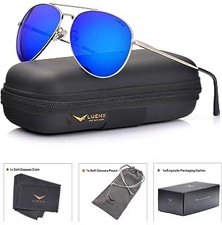 39419680b9fb LUENX Mens Aviator Sunglasses Polarized  UV 400 Protection shades with case  60MM