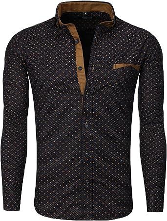 Carisma – Camisa para Hombre Slim Fit Azul Marino Cuello Italiano Azul XXL: Amazon.es: Ropa y accesorios