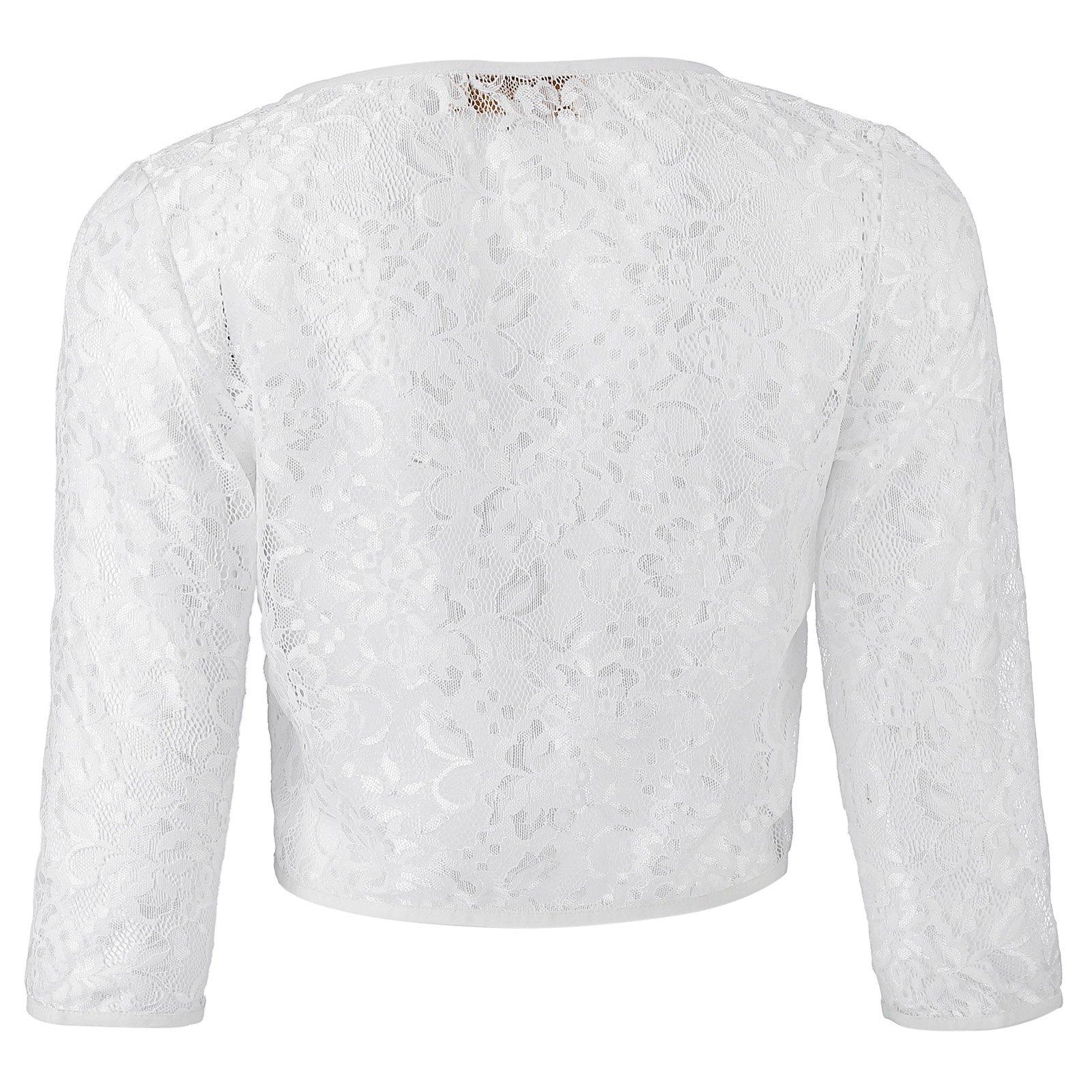 Kate Kasin Short Crochet Bolero Floral Lace Cardigan Top for Women (White, 2XL) KK430-2 by Kate Kasin (Image #2)