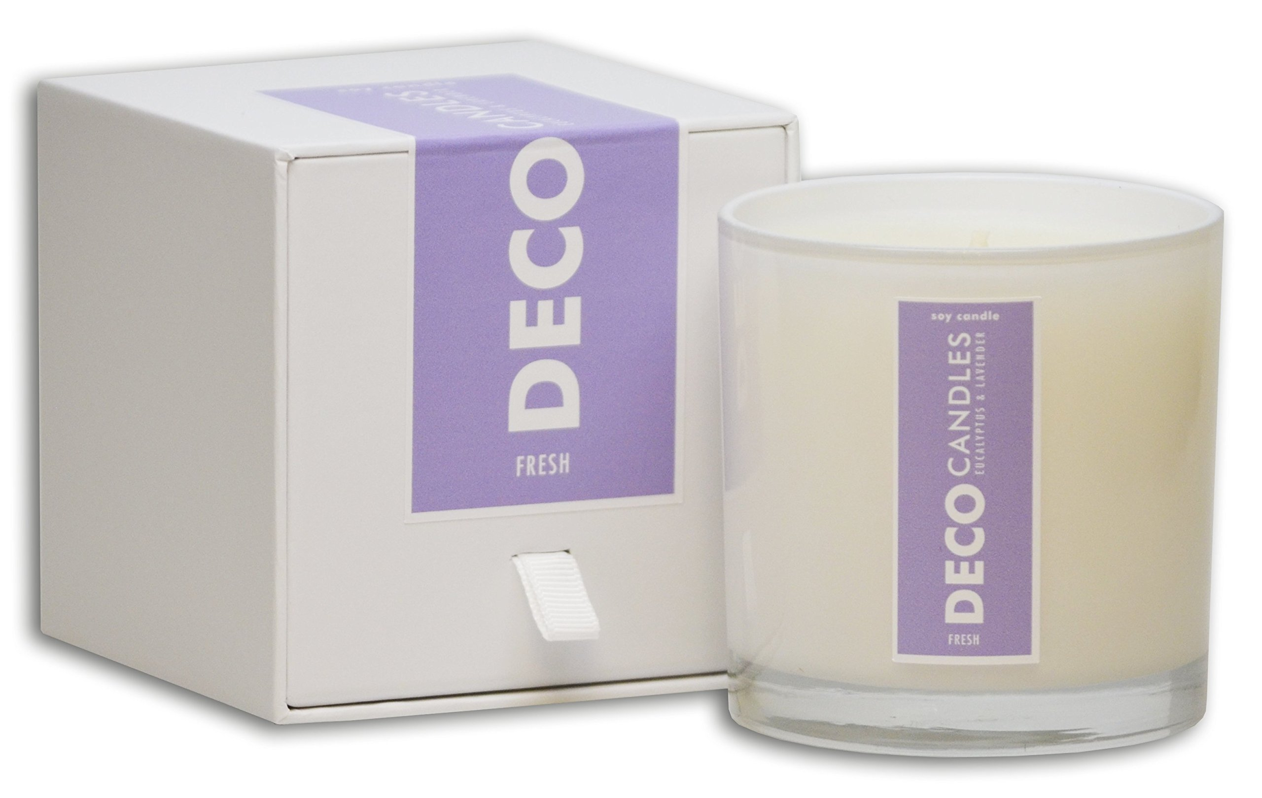 DecoCandleS | Fresh - Eucalyptus & Lavender - Highly Scented Candle - Long Lasting - Hand poured in the USA - Hotel Inspired Collection - 9 Oz.