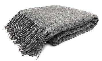 Jowollina Wolldecke Plaid 140x200 Cm 100 Merinowolle Melange Grau