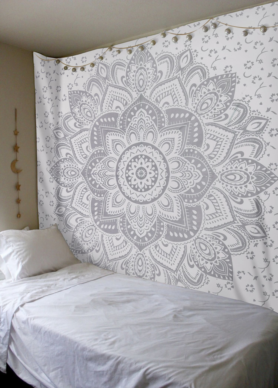 Madhu International Mandala Gold Tapestries (Queen, White Silver) by Madhu International