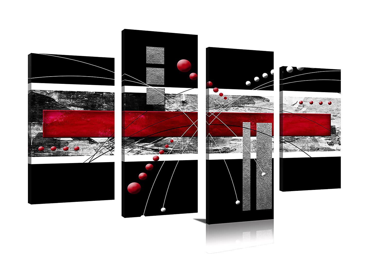 YPY Black Red Canvas Material 4 Panels Abstract Modern Artwork for Wall Decoration Ready to Hang Living Room Bedroom