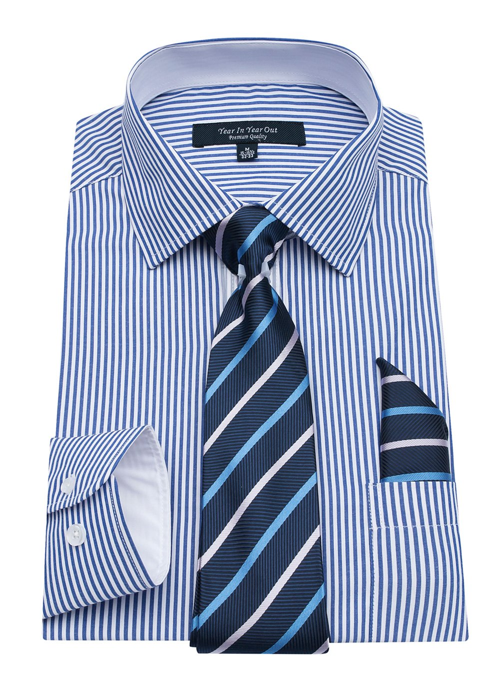 YEAR IN YEAR OUT Mens Long Sleeve Dress Shirts Slim Fit Shirts For Men With Mathing Tie and Handkerchief,Blue Stripe,16''-16.5''Neck 34''-35'' Sleeve