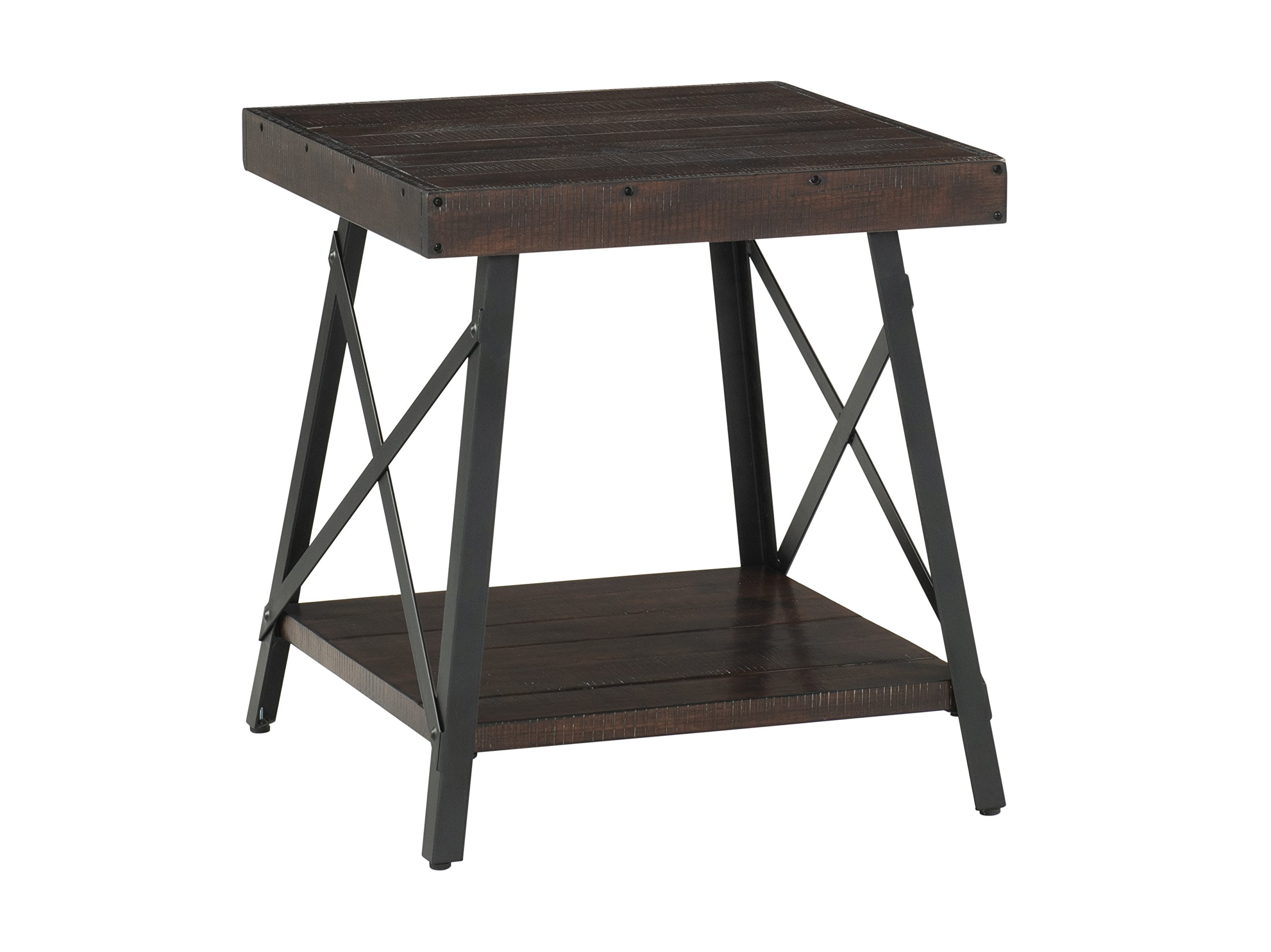 "Martin Svensson Home 890435 Xavier End Table, Sumatra - Finish: Sumatra - blend of a deep rich Coffee Finish with a slight amount of white pumice hang up Crafted from solid wood - New Zealand pine with rough hewn saw marks Exposed rivets across the Top and Black Steel metal ""x"" cross on the end caps give it a distinct industrial and rustic look - living-room-furniture, living-room, end-tables - 81a8f9j0r7L -"
