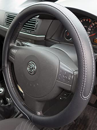 2006-2014 Black Steering Wheel Cover Grip Leather Look Glove Vauxhall Corsa D