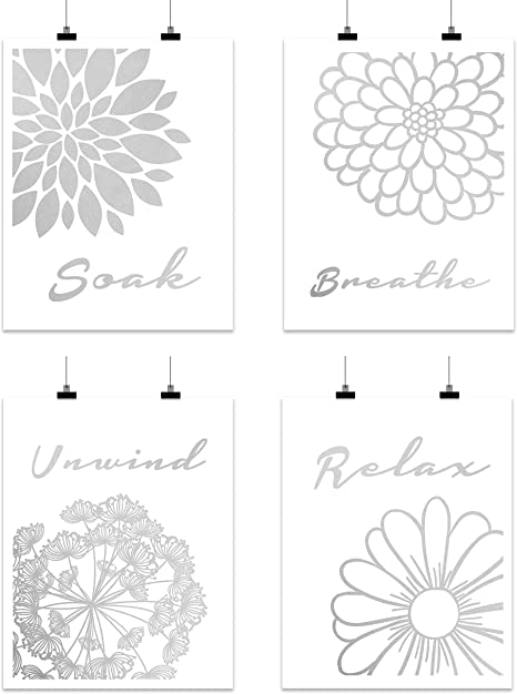 Amazon Com Bathroom Home Wall Art Decor Gift 4 Abstract Flower Set Silver Foil Relax Soak Breathe Unwind Inspirational Print Sign Photo Picture Artwork Quote Poster Restroom Toilet Unframed 8 X 10 Cardstock