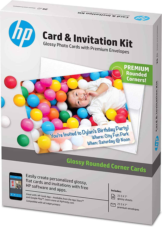 HP Card & Invitation Kit | Glossy | 5x7 | 25 Sheets