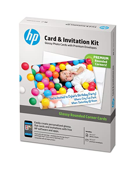 image relating to Hewlett Packard Printable Cards called HP Playing cards Invitation Package with Envelopes, Shiny Rounded Corners, 5x7, 25 Sheets