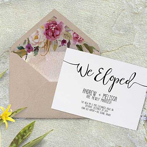 amazon com we eloped wedding announcements elopement announcement