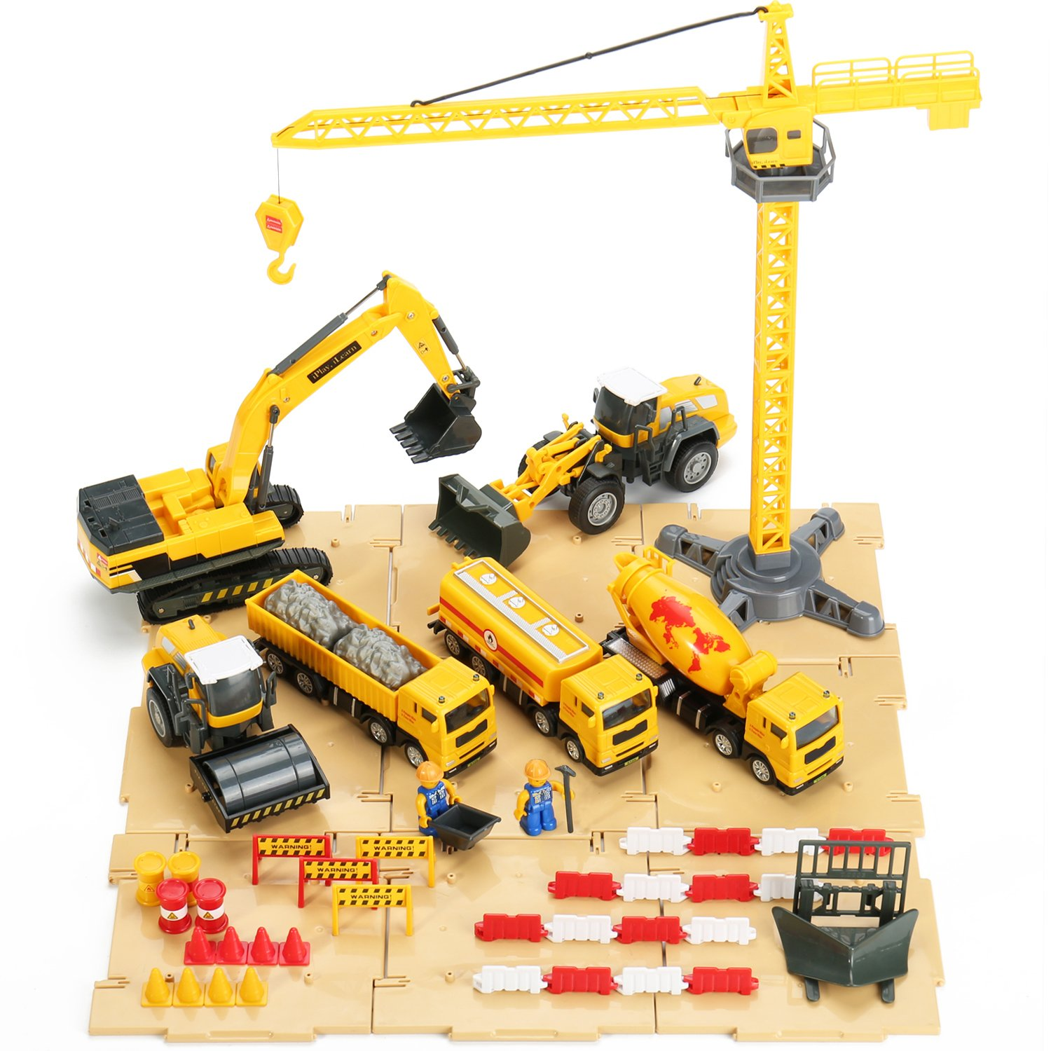 iPlay, iLearn Construction Site Vehicles Toy Set, Engineering Tractor Digger Playset, Crane, Dump, Trucks, Excavator, Steamroller for Age 3, 4, 5 Year Olds Toddlers, Boys, Girls, Kids, Child