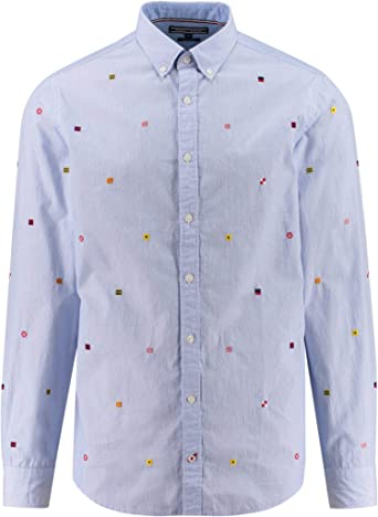 Tommy Hilfiger All Over Flag Embro Rf3 Camisa, Multicolor (Shirt Blue/BW/Multi 903), Small para Hombre: Amazon.es: Ropa y accesorios