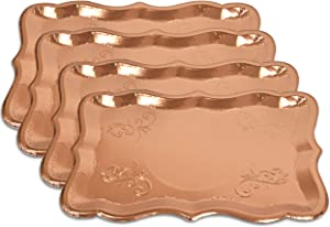 "10 Rose Gold Rectangle Trays for Elegant Dessert Table Serving Parties 9"" x 13"" Heavy Duty Disposable Paper Cardboard for Platters, Cupcake Display, Birthday Party, Dessert, Weddings & More Food Safe"
