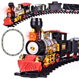 FUN LITTLE TOYS Train Set with Lights and Sounds for Under The Tree, Electric Toy Train with Railway Tracks for Kids, Gift for Boys and Girls