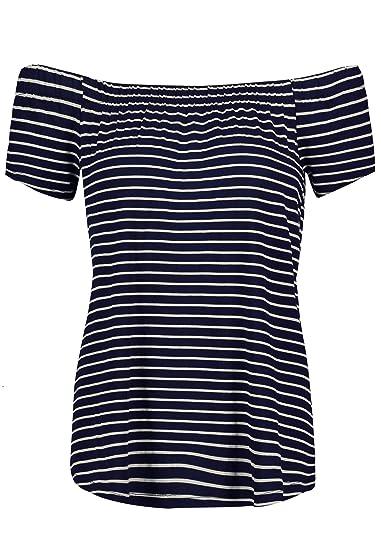 Sublevel Damen T Shirt mit Carmen Ausschnitt und Streifen