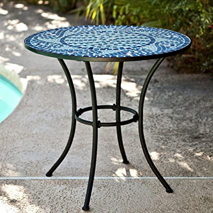 Tremendous Starsun Depot 30 Inch Round Metal Outdoor Bistro Patio Table With Hand Laid Blue Tiles Theyellowbook Wood Chair Design Ideas Theyellowbookinfo