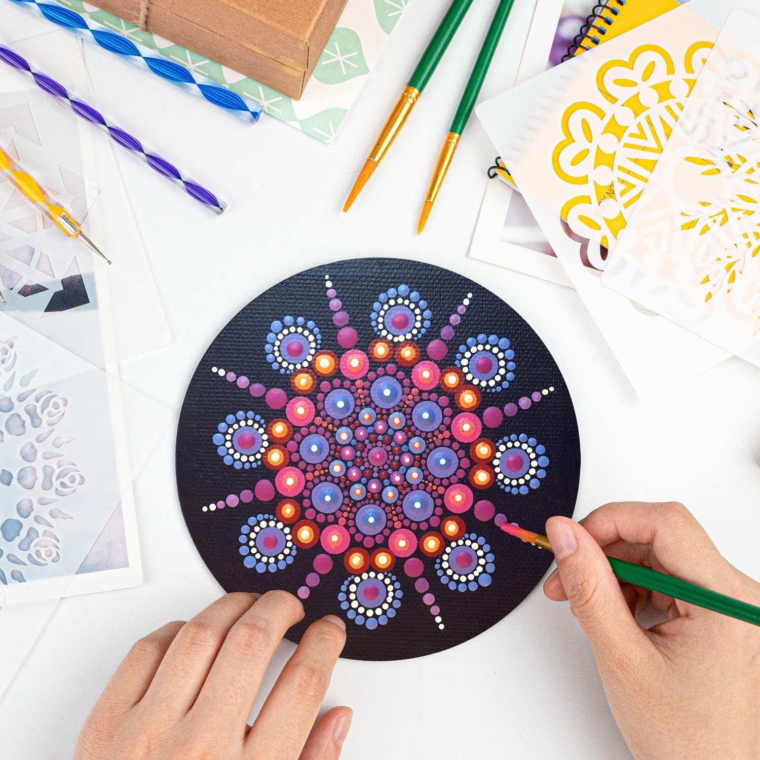 Painting Rocks VIBIRIT 50PCS Mandala Dotting Tools Complete Mandala Dotting Tools Set with Mandala Stencil//Dotting Tools//Brushes//Paint Tray//Mini Easel for Clay Pottery Craft Art Drawing Coloring
