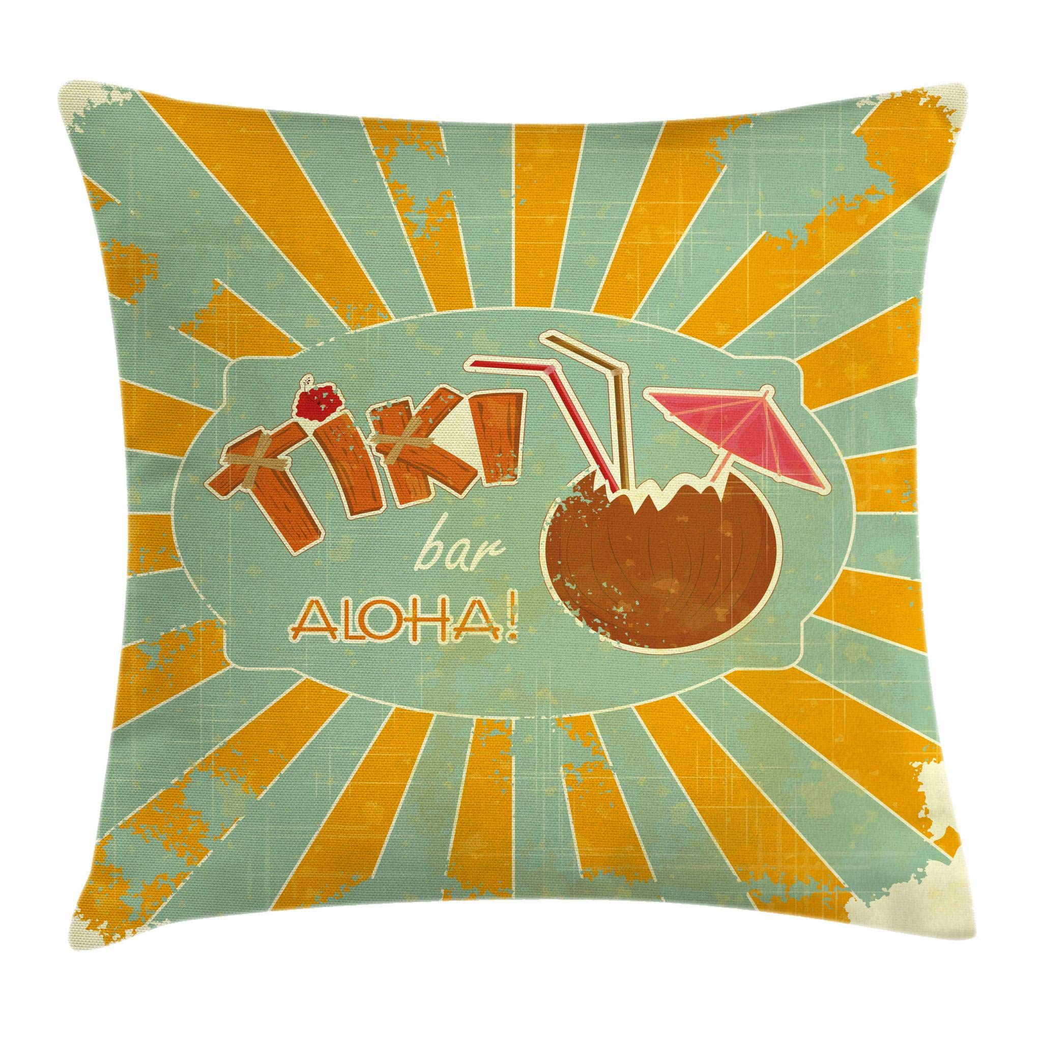 Ambesonne Tiki Bar Decor Throw Pillow Cushion Cover, Vintage Design Exotic Cocktail Aged Look Aloha Fun Party, Decorative Square Accent Pillow Case, 18 X 18 Inches, Orange Almond Green Brown