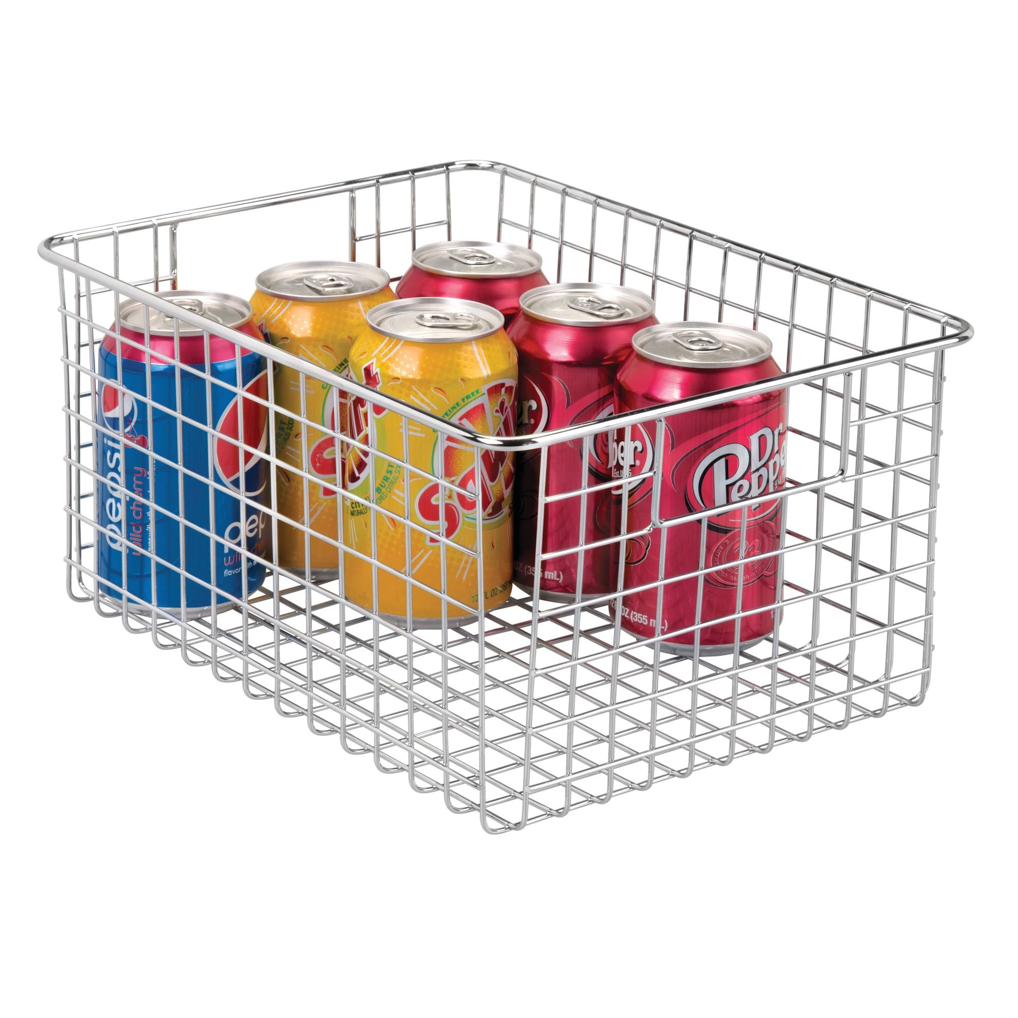 mDesign Wire Storage Bin with Handles – 12'' x 9'' x 6'', Chrome