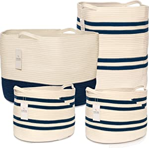 Chloe and Cotton Woven Coiled Rope Storage Baskets XXXL 15 x 21 inch; XL 19 x 16 and Set of 2 Cubby Baskets Navy White Handles | Decorative Laundry Clothes Hamper, Blanket, Towel, Cute Organizer Bin
