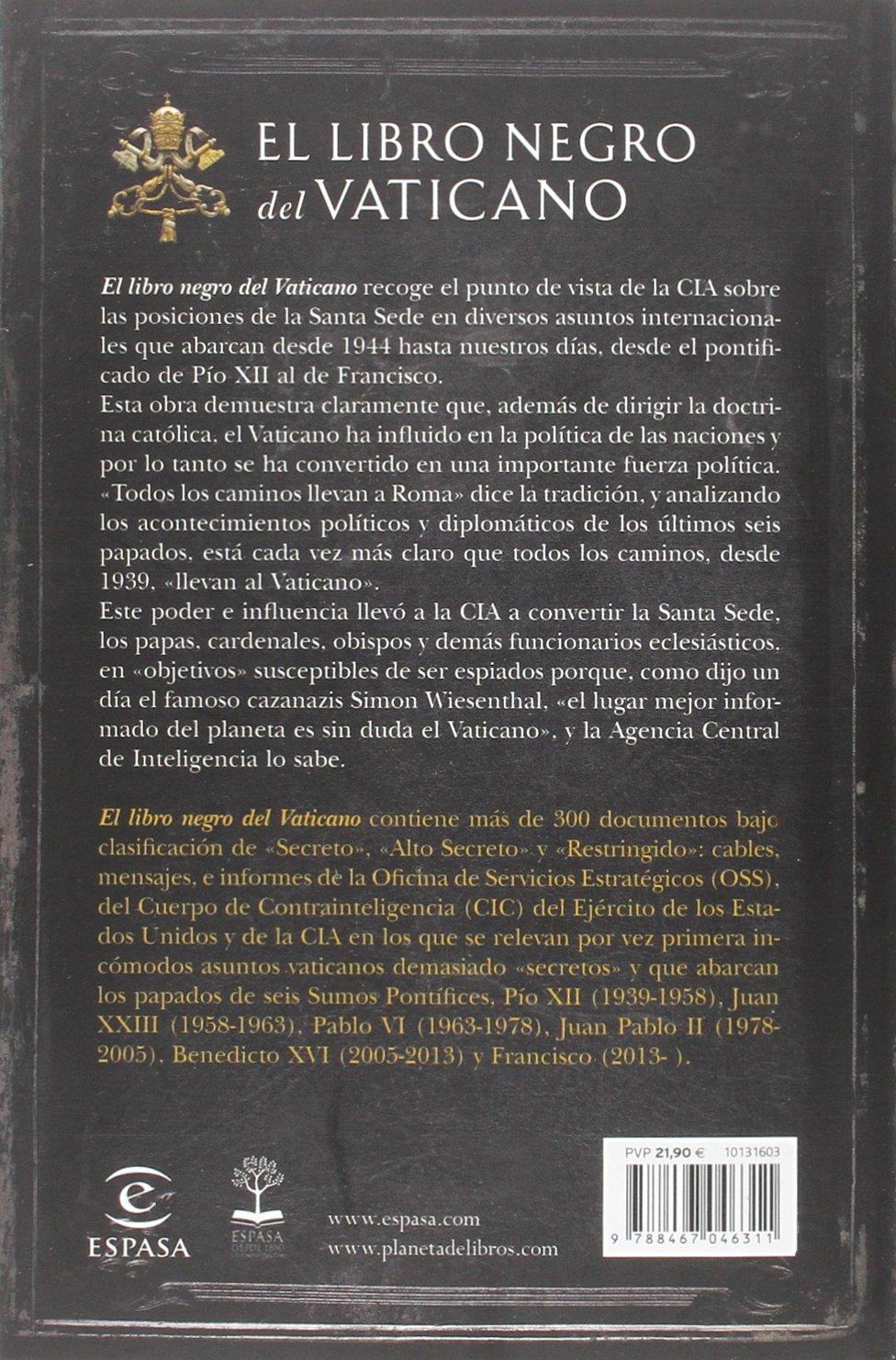 El Libro Negro Del Vaticano Las Oscuras Relaciones Entre La Cia Y La Santa Sede Fuera De Colección Amazon Es Frattini Eric Libros