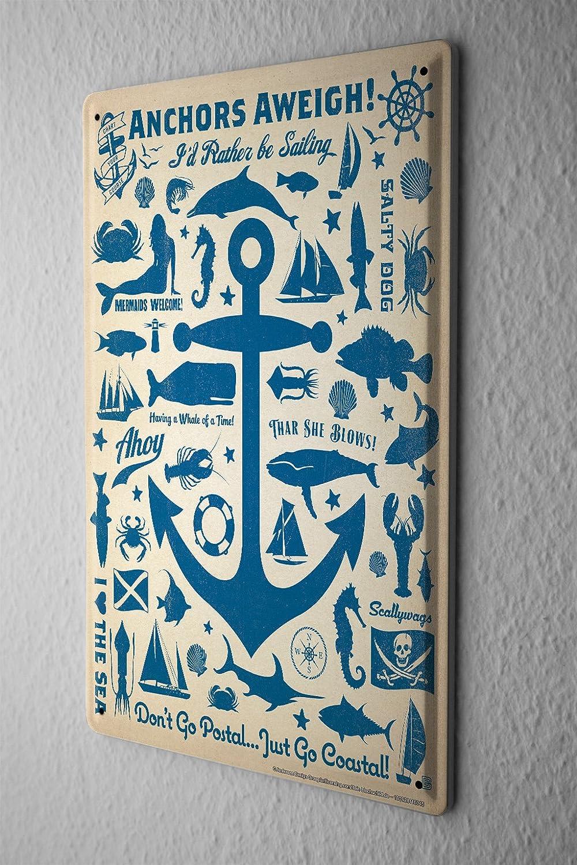 Cartel de chapa Placa metal tin sign Decoraci/ón Mar/ítima Ruedas Anchor Fish Mermaid Letrero Decorativo 20X30 cm