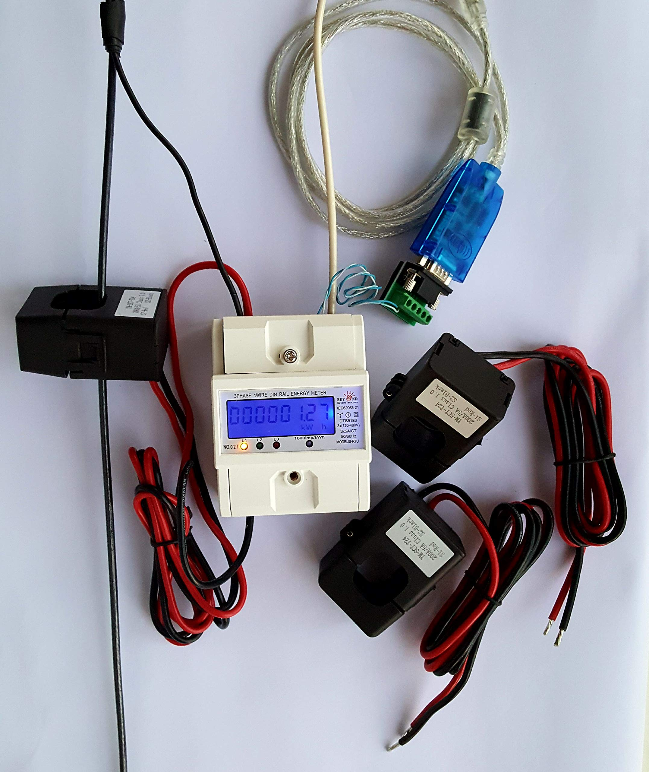 Smart energy meter 1 2 or 3 phase 120V/480V. 2x200:5 Amps included by BeyondTech.com (Image #6)