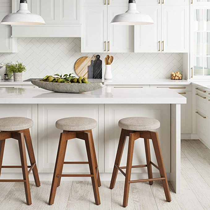 Nathan James Amalia Backless Kitchen Counter Height Bar Stool Solid Wood With 360 Swivel Seat Antique Coffee Natural Wheat Amazon Co Uk Kitchen Home