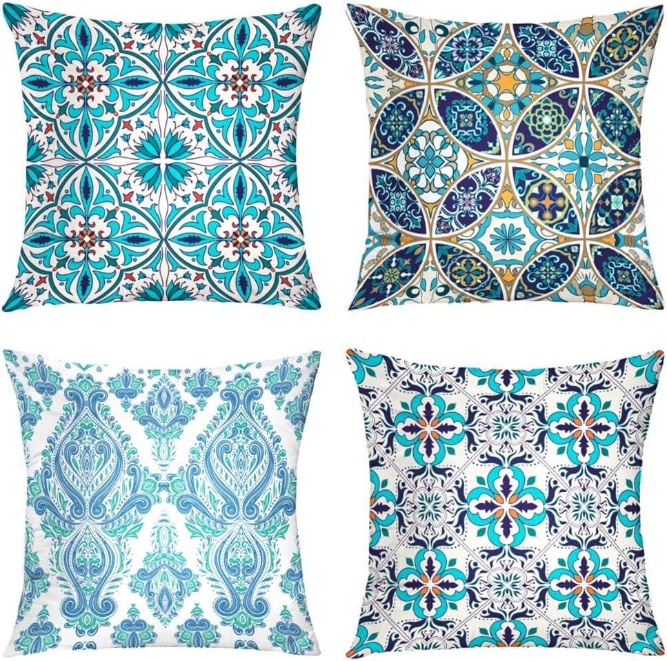 Suesoso Decorative Pillows Case,4 Pillow Set,Blue Beautiful and Fashion Tiles Moroccan Ornaments Mosaic Throw Pillowcovers 18 x 18 inch,Cushion Decorative Home Decor Nice Gift Garden Sofa Bed Car