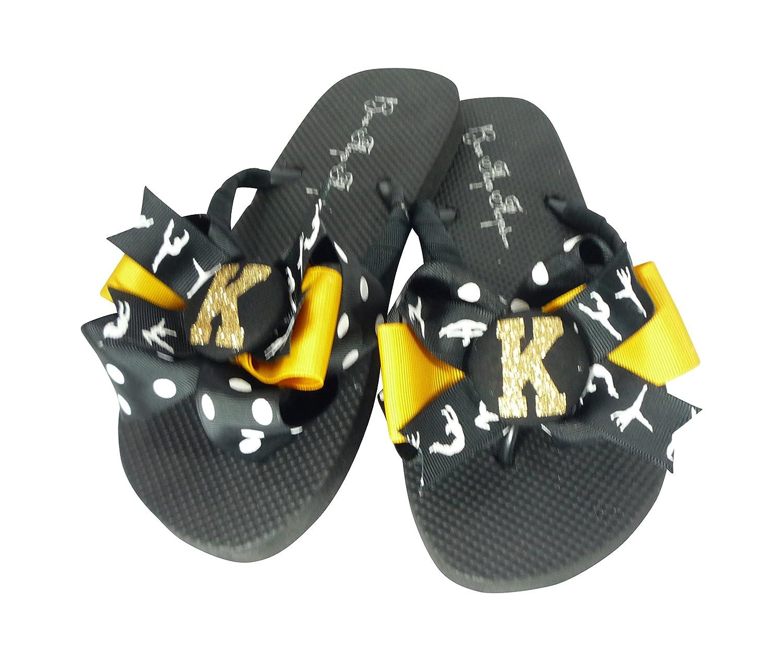 Gymnastics Glitter Bow Flip Flops- black & gold - for Women, Children, Teen in Custom Team Colors - choose your sport