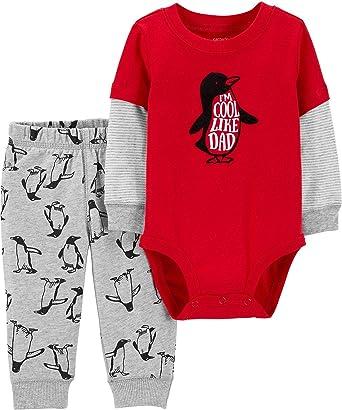617c29c7578 Carter s Baby Boys I m Cool Like Dad Penguin Bodysuit Set Newborn Red Grey