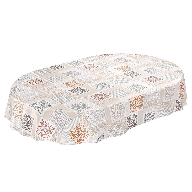 ANRO Wachstuchtischdecke Wachstuch Wachstischdecke Tischdecke abwaschbar Patchwork Shabby Beige Braun Rund 100cm