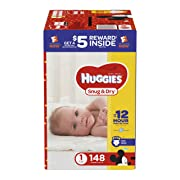 HUGGIES Snug & Dry Diapers, Size 1, 148 Count, GIGA JR PACK (Packaging May Vary)