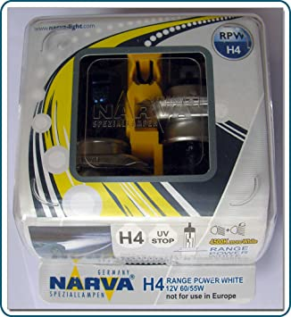 H4 NARVA Range Power White Headlight Bulbs (pair): Amazon co