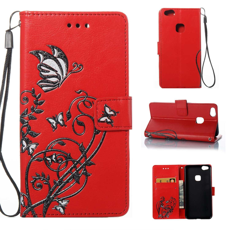 HCUI Compatible avec Huawei P10 Lite Coque Cuir Étui Wallet Housse, Portefeuille de Protection Coque avec Fonction Support Magnétique Pochette Antichoc Coque pour Huawei P10 Lite - rouge.