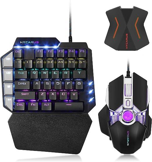 Combo de teclado y mouse mecánico para juegos HYCARUS One Handed con retroiluminación LED RGB. Adaptador convertidor de teclado y mouse HYCARUS para ...