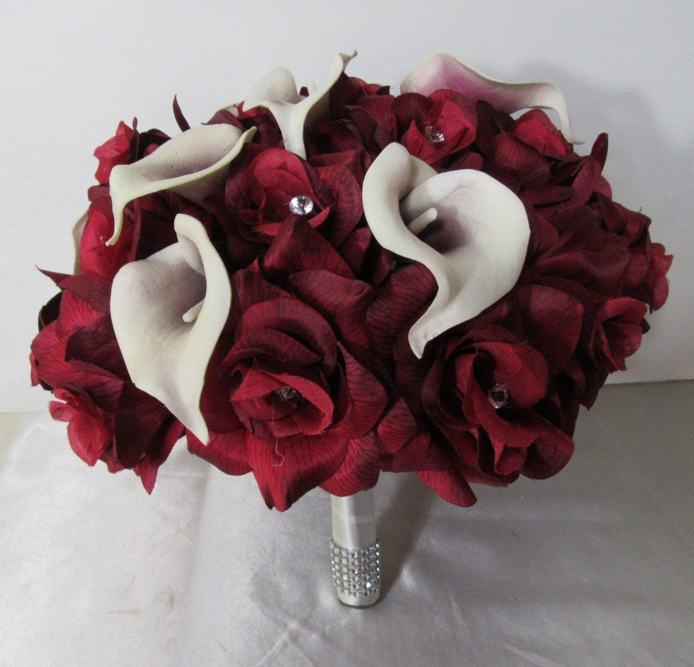 Burgundy Rhinestone Rose Calla Lily Bridal Wedding Bouquet & Boutonniere