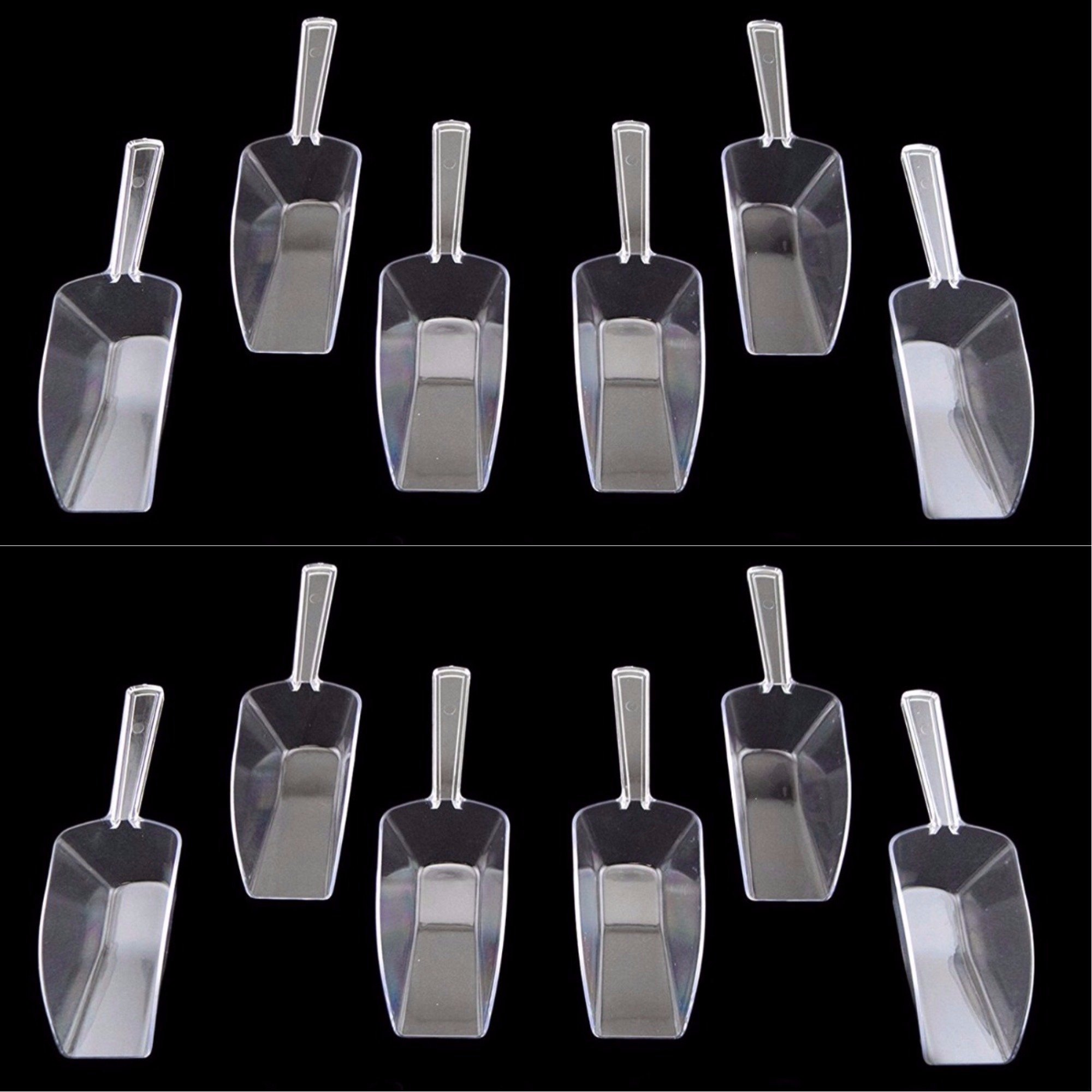 12pcs Small Clear Scoops Acrylic Plastic Wedding Kitchen Bridal Party Ice Cream Favor Bar Protein Powders Buffet Dessert Coffee Tea Candy