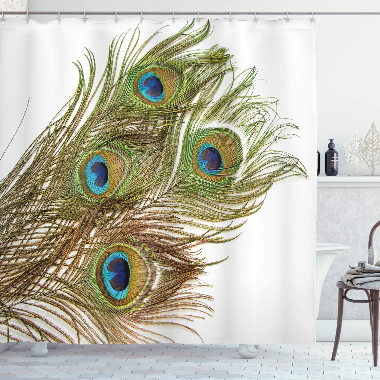 Ambesonne Peacock Shower Curtain, Macro Peacock Tail Feather Like Third Eyes Vitality New Life Path Awakening Print, Cloth Fabric Bathroom Decor Set with Hooks, 70