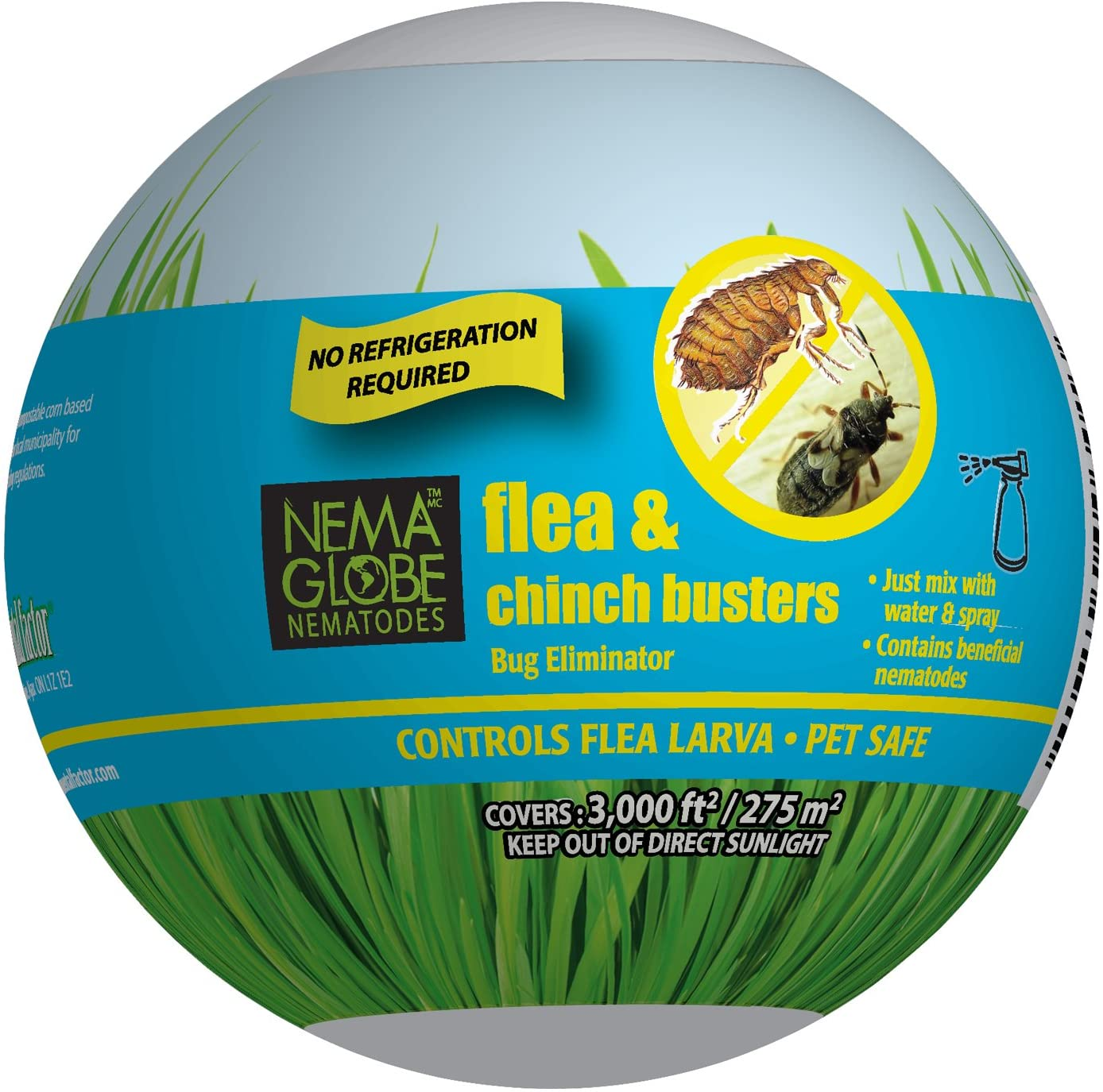 Nema Globe 25 Million Beneficial Nematodes (S.carpocapsae) Flea, Fly and Chinch Buster for Pest Control - New No Refrigeration Required Formula