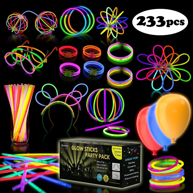 iGlow Glow Sticks Bulk Party Pack Multicolor Non Toxic 233 Pieces Light Stick Set