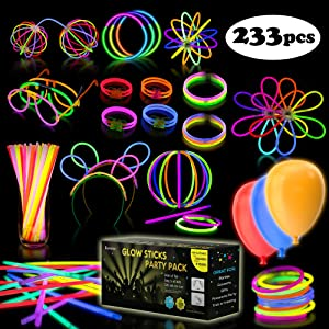 iGlow Glow Sticks Bulk Party Pack Multicolor Non Toxic 233 Pieces Light Stick Set
