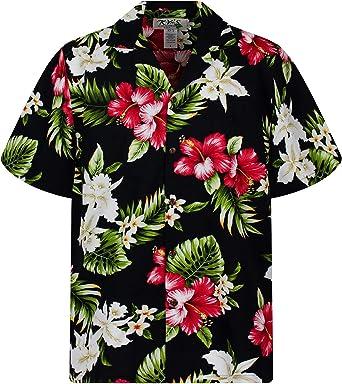 KYs | Original Camisa Hawaiana | Caballeros | 3XL | Manga Corta | Bolsillo Delantero | Estampado Hawaiano | Flores | Negro: Amazon.es: Ropa y accesorios