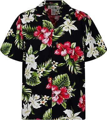 KYs | Original Camisa Hawaiana | Caballeros | 3XL | Manga Corta | Bolsillo Delantero | Estampado Hawaiano | Flores | Negro