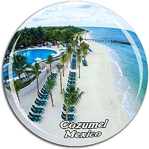 Beach Cozumel Mexico Fridge Magnet 3D Crystal Glass Tourist City Travel Souvenir Collection Gift Strong Refrigerator Sticker