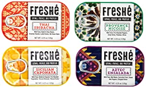Freshé Gourmet Canned Tuna Variety Pack (4 Pack) Healthy High-Protein Snack & Ready-to-Eat Meal – All-Natural, Non-GMO, Wild-Caught Tuna – Mediterranean Diet Friendly