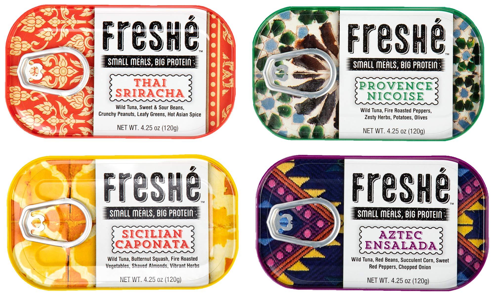 Freshé Variety Pack (4 Pack, Aztec Ensalada, Sicilian Caponata, Provence Nicoise, Thai Sriracha, 4.25 Oz. Tin)