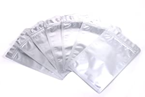 Mylar Bags Ziplock Long Term Food Storage Silver 7.9x11.8 Inch 50pcs DSM&T
