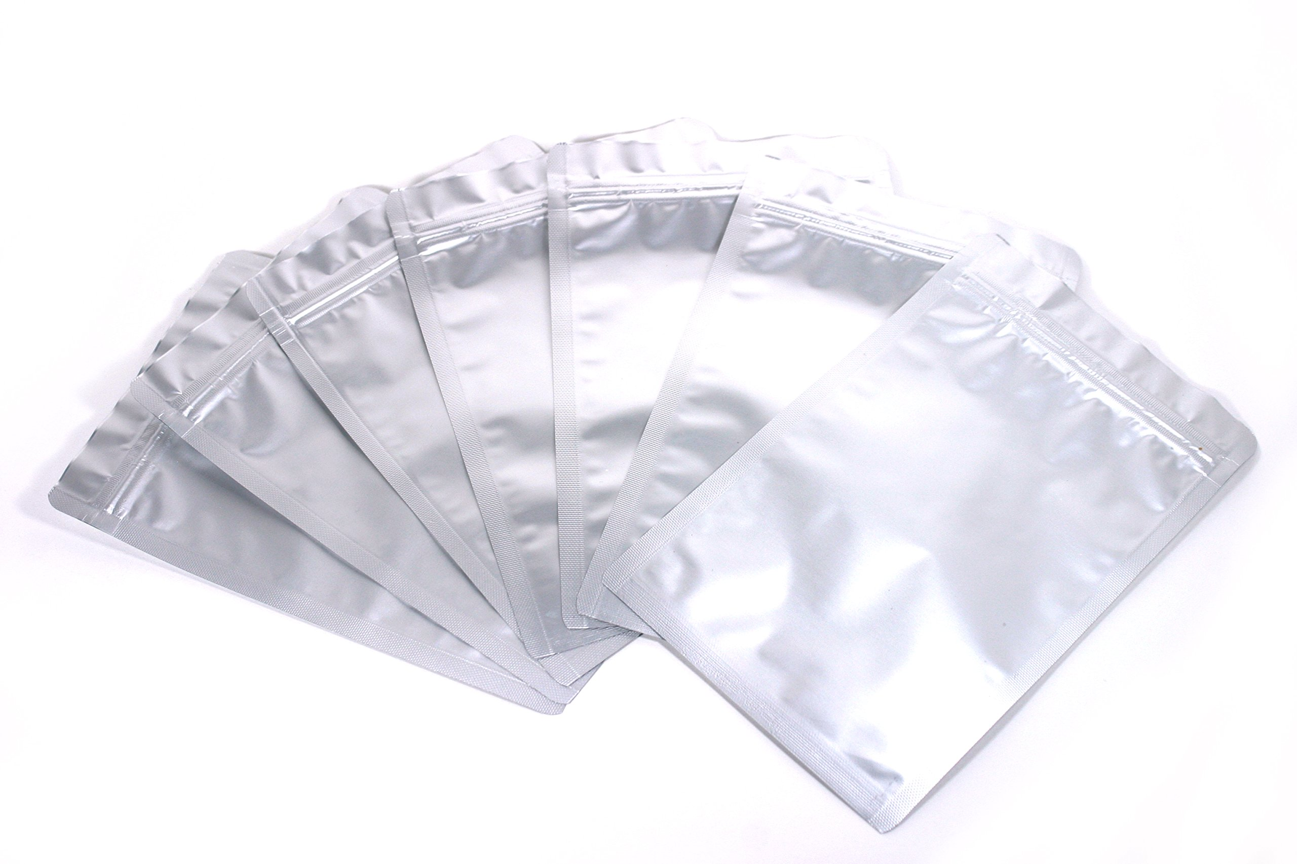 DSM&T Mylar Bags Ziplock Long Term Food Storage Silver 7.5x11.5 Inch 50pcs