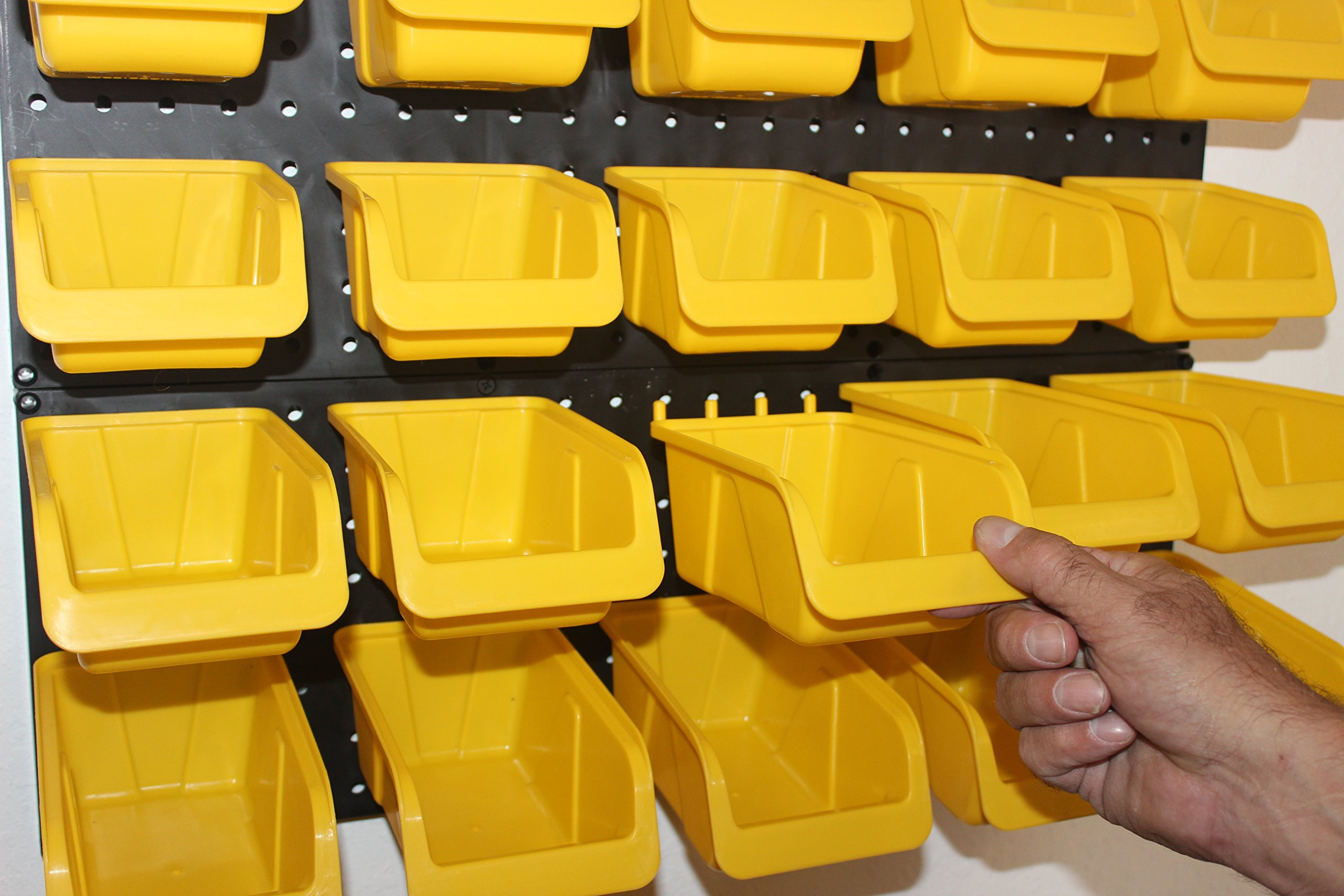 WallPeg Tool Board Accessories Plastic Pegboard Bins – Yellow Pegboard Bins 10 ea. # AM 10Y by WallPeg